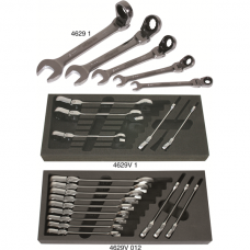 Forked Ring-Ratchet Spanner Set with Hinge